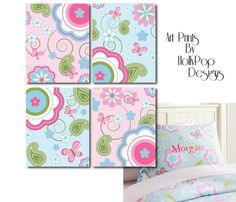 Nursery Wall DecorArt Prints Baby Girls by HollyPopDesigns on Etsy, $43.00
