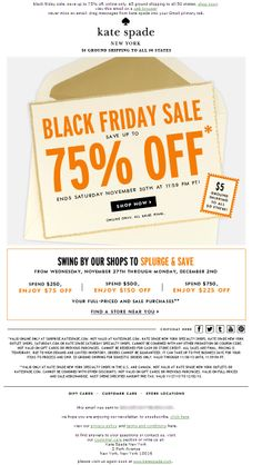 Sent: 11/28/13 SL:'now's the time! up to 75% off.' Kate Spade Black Friday email with Retail Splurge & Save offer.