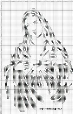 Our Lady. Would be good in blue. Crochet Quilt, Crochet Chart, Crochet Home, Thread Crochet, Crochet Motif, Diy Bead Embroidery, Cross Stitch Embroidery, Embroidery Patterns, Religious Cross Stitch Patterns