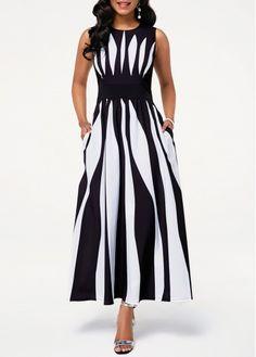 Black And White Sleeveless Maxi Dress Round Neck Sleeveless Stripe Print Pocket Dress Women's Dresses, Women's Fashion Dresses, Casual Dresses, Trendy Dresses, Dresses For Work, Blue Dresses, Popular Dresses, Black Dresses Online, Dress Online