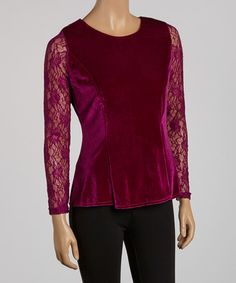 This Magenta Lace-Sleeve Top is perfect! #zulilyfinds