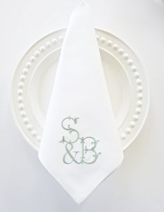 Custom Monogram for wedding napkins and special events Monogrammed Napkins, Monogram Towels, Personalized Napkins, Embroidery Monogram Fonts, Applique Monogram, Monogram Design, Monogram Styles, Wedding Napkins, Wedding Keepsakes