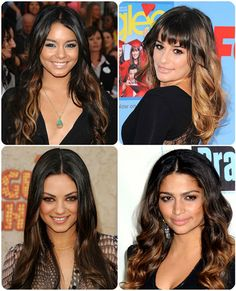 Easy and Best 10 Dip-dye Ombre Color Hair Ideas without Bleach at Home Mila glossy and Vanessa Hudgens long subtle black and brown dip dye hairstyle