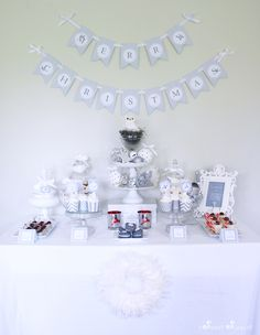 White Christmas Dessert Table Printables by Sweet Scarlet Designs