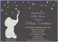 Elephant Baby Shower invitation/ Baby Boy or Baby Girl Little Elephant Baby…