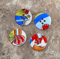 retro fun  -  4 sew on buttons - hand made ceramic with cute decals