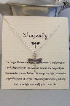 Dragonfly The dragonfly totem carries the wisdom of transformation and adaptability in life. As spirit animal the dragonfly is connected to Dragonfly Jewelry, Dragonfly Art, Dragonfly Tattoo, Dragonfly Meaning, Dragonfly Quotes, Dragonfly Symbolism, Meant To Be Quotes, Friendship Necklaces, Symbols