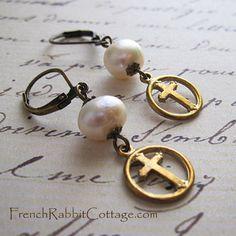 Cross Earrings. Pearl Earrings Dangle. by FrenchRabbitCottage1
