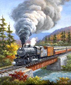 Train Landscape DIY Diamond Painting Kit Full Drill Stick To Paint Home Decor Cross-stitch Mosaic Art Christmas Gifts Locomotive, Zug Illustration, Diy Painting, Watercolor Paintings, Nicolas Vanier, Train Drawing, Art Christmas Gifts, Train Art, Train Pictures