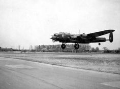 An Avro Lancaster (B Mk.II) heavy bomber, of the 514th Squadron, landing at the Deenethorpe airfield. England. #WWII