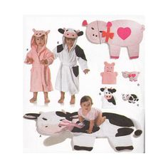 Baby Accessories Sewing Pattern Burda 9643 Cows Pigs Play