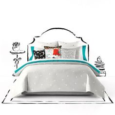 Give your bedroom a fresh new look with the stylish kate spade new york Deco Dot Duvet Cover Set. Decorated with Kate Spades& favorite dots in a scattered layout, the whimsical bedding is a fun and flirty addition to any room& décor. Twin Xl Comforter, Queen Comforter Sets, Duvet Sets, Duvet Cover Sets, Dorm Bedding, Cotton Bedding, King Duvet, Queen Duvet, Cotton Pillow
