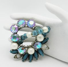 Vintage Brooch Hobe Blue and Pearls by HeirloomBandB on Etsy, $65.00