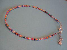 multi coloured bead anklet star hippy boho funky summer festival beach pendant