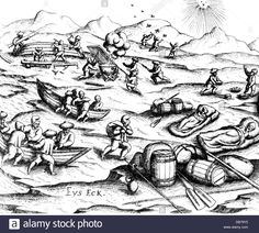 Barents Willem circa 1550 - Dutch navigator third arctic expedition 1596 - 1597 the crew preparing for - Stock Image Archaeological Finds, 17th Century, Arctic, Nova, Stock Photos, Sailors, History, Rivers, Lakes