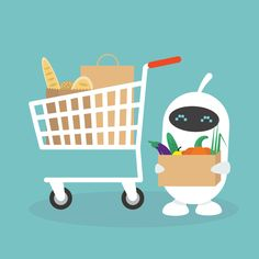Cute white robot in a grocery store / flat editable vector illustration, clip art