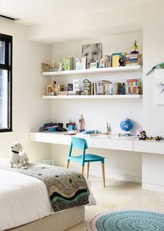 Interior Design Idea - 11 Essentials For Kids Homework Stations // Customizing the desk or table to their height makes it less likely for them to fidget as they try to reach their work surface. Bedroom Desk, Girls Bedroom, Bedrooms, Kids Homework Station, Teenage Girl Bedroom Designs, Magazine Deco, Ikea Design, Study Nook, Kid Desk
