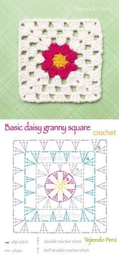 Crochet: basic daisy granny square pattern (diagram or chart)! by deann Crochet: basic daisy granny square pattern (diagram or chart)! by deann Crochet Squares, Crochet Motifs, Granny Square Crochet Pattern, Crochet Blocks, Crochet Diagram, Crochet Chart, Crochet Granny, Crochet Stitches, Crochet Patterns