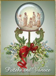 Animovaná vánoční přání | Obrázky, animace ke stažení zdarma Christmas Bulbs, Merry Christmas, Snow Globes, Santa, Holiday Decor, Home Decor, New Years Eve, Merry Little Christmas, Decoration Home