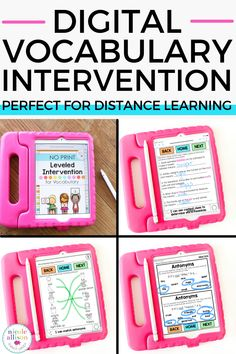 With over 150 pages of leveled language intervention included, my digital speech therapy resource for vocabulary is great for distance learning! Your speech therapy students will love completing these vocabulary activities on their favorite device, while also targeting skills such as: Homophones, Prefixes, Suffixes, and more! There's also visual cards included! My resource provides effective instruction and intervention for vocabulary. Speech Language Pathology, Speech And Language, Online Homeschool Programs, Curriculum Mapping, Effective Teaching, Learning Websites, Vocabulary Activities, Child Care, Chromebook