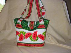 Handmade purse or bag watermelon border fabric by joanngannon, $59.50, fun summer purse