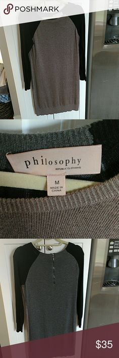 Philosophy color block sweater dress Beautiful color block sweater dress from philosophy. Is tan and black on the front and gray and black on the back. Features a back zipper. Has minor pilling under the arms but otherwise in excellent condition Philosophy Dresses Long Sleeve