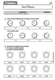 Voici une évaluation classique sur la lecture de l'heure au CE1. Vous pourrez trouver des activités et des fiches d'exercices dans le dossier Lecture de l'heure CP-CE1-CE2, ainsi que des jeux à imprimer.  - evaluation-lire-l-heure-CE1.pdf