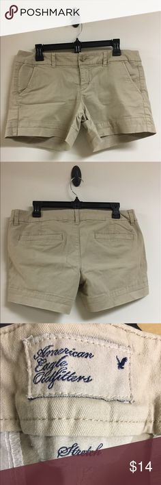 American Eagle Size 10 Khaki Tan Shorts Stretch Excellent condition, only worn a few times. No holes, no stains, no flaws of any kind. Check my other items for bundles! I have entirely too many clothes and I'm running out of closet space! Time to consolidate and find new homes for all these pieces. American Eagle Outfitters Shorts