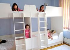 "Four sisters sharing one room? That's just the kind of challenge Casa Kids loves. Here, the Brooklyn-based company, who specializes in bunk and loft beds, created a custom solution in a ""beautiful, but compact"" loft in Soho, New York so these siblings can bunk up together beautifully."