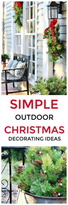 Looking for simple outdoor Christmas decorating ideas? Here are some creative tips and ideas for your outdoor Christmas spaces. Looking for simple outdoor Christmas decorating ideas? Here are some creative tips and ideas for your outdoor Christmas spaces. Christmas Porch, Outdoor Christmas Decorations, All Things Christmas, Christmas Fun, Primitive Christmas, Country Christmas, White Christmas, Christmas Wreaths, Joanna Gaines