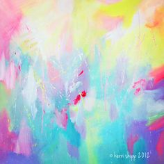 'Atomic' neon abstract Watercolour Print #art