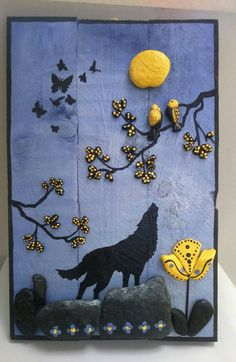 Black Wolf in the summer night Stone Art pebble от StefArtNatural