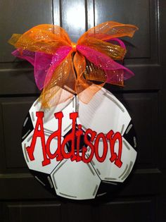 Soccer Ball Wreath Soccer Ball Door Hanger by DoodleBugCraftsbyR, $35.00 Soccer Treats, Soccer Gifts, Soccer Stuff, Soccer Banquet, Soccer Party, Soccer Ball, Wooden Door Hangers, Wooden Doors, Christmas Bulbs