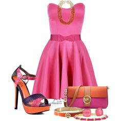 """Pink and Orange"" by christa72 on Polyvore"