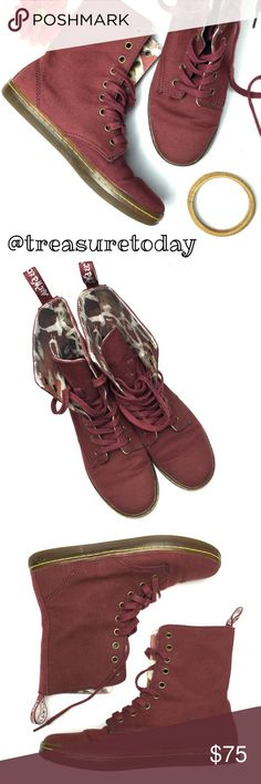 Selling this Dr. Martens Maroon Canvas Lace Up Boots on Poshmark! My username is: treasuretoday. #shopmycloset #poshmark #fashion #shopping #style #forsale #Dr. Martens #Shoes