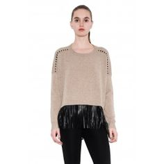 Tatum sweater by one grey day - hi-lo swing pullover with leather fringe detail at hemline and edgy whip stitch on the drop