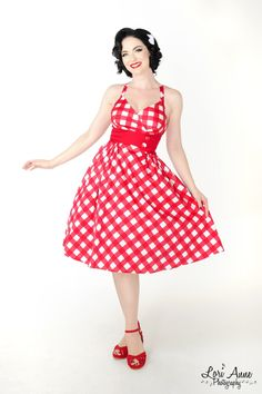 Pinup Couture Zooey Dress in Picnic print with Red Waist and Buttons - Pin-Up Girl Clothing