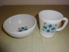 Vintage Milk Glass Fire King Swiss Chalet Alpine Marcrest 1 Mug, 1 Cereal Bowl