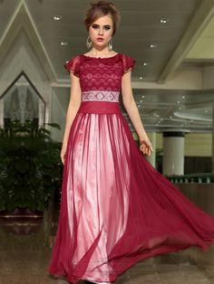 Ruby Chiffon A-line Cap Sleeves Boat Neck Floor Length Formal Dresses