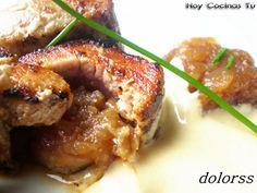 Hoy Cocinas Tú: Solomillo relleno de cebolla caramelizada con salsa de mostaza Beef Recipes, Beef Meals, Filets, Relleno, Chicken, Dinner, Blog, Gastronomia, Shape