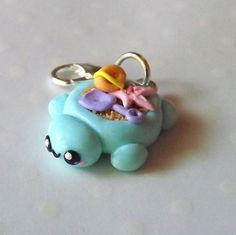 Polymer Clay Charm, Turtle Sandbox Charm, Stitch Marker, Kawaii Clay Charm, Miniature Turtle, Clay Animal Charm