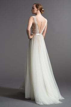 Watters Bridal Romantic A-Line gown with illusion neckline and plunging back neckline. Features hand-placed Carina Lace, covered buttons and Double-Faced Wedding Bridesmaid Dresses, Wedding Dress Styles, Designer Wedding Dresses, Wedding Gowns, 2017 Wedding, Summer Wedding, Bridesmaids, Dream Wedding, Prom Dresses