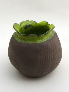 "Vase by Saskia Lauth Ceramics / France - ""Chocolate-lime"" series, 2015, brown clay, yellow green glaze - www.saskia-lauth.com"