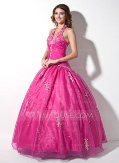 Quinceanera Dresses - $152.49 - Ball-Gown Halter Floor-Length Organza Quinceanera Dress With Embroidered Ruffle Beading Sequins (021003137) http://jjshouse.com/Ball-Gown-Halter-Floor-Length-Organza-Quinceanera-Dress-With-Embroidered-Ruffle-Beading-Sequins-021003137-g3137