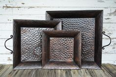 - Need to find these w/o the handles. Hammered Metal Tray Set - Square