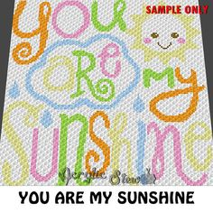 Baby Graphgan Pattern - Corner to Corner - C2C Crochet - You Are My Sunshine Quote Baby Gift Blanket Afghan Crochet Graph Pattern Chart