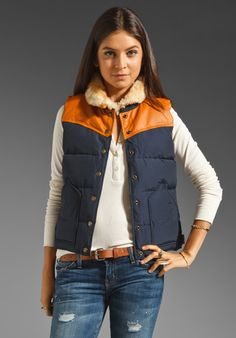 PENFIELD Rockwool Leather Yoke Down Vest in Navy at Revolve Clothing - Free Shipping!
