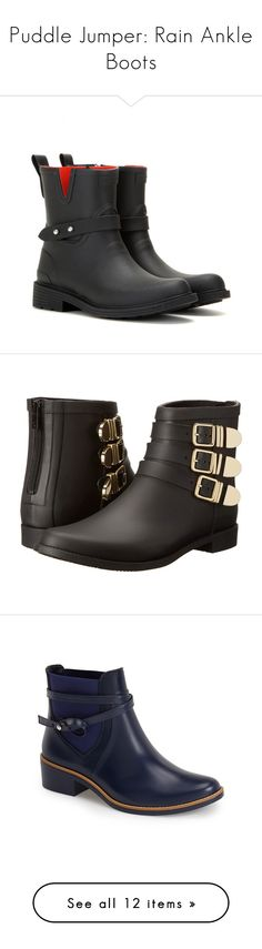 """""""Puddle Jumper: Rain Ankle Boots"""" by polyvore-editorial ❤ liked on Polyvore featuring rainboots, shoes, boots, ankle booties, black, short black boots, black bootie boots, rag & bone, ankle boots and black ankle boots"""