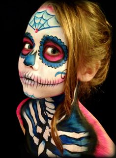 Cutest little sugar skull! Check out Kat from Little Monsters Studio at the 4th AWE Body Painting Competition!