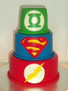 DC Comic Super Hero characters cake. Green Lantern, Superman and...